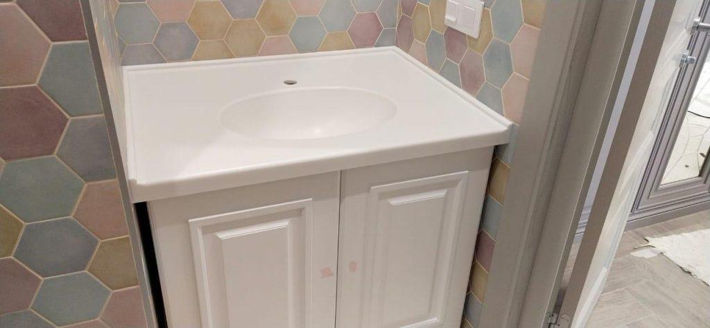 Столешница с интегрированной раковиной для ванной из камня LG Hi-Macs P001 - фото 2
