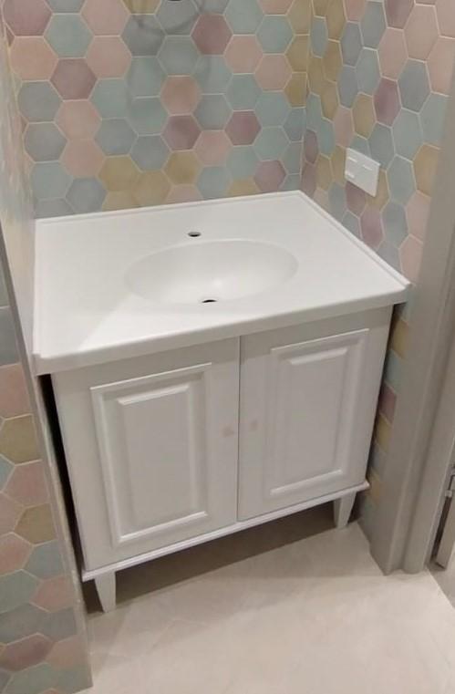 Столешница с интегрированной раковиной для ванной из камня LG Hi-Macs P001 - фото 3