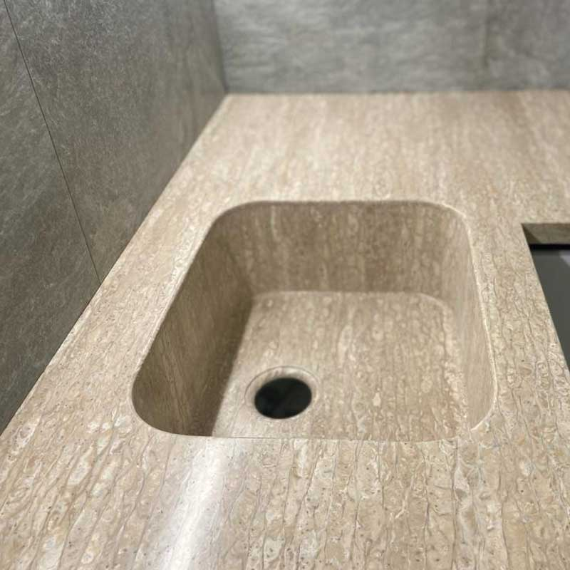 Г-образная столешница с интегрированной мойкой, столешница и стол для ванной - фото 13
