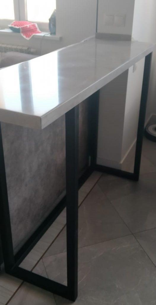 Белая барная стойка для кухни из камня Staron Supreme VD126 Dawn (Юж.Корея) - фото 3