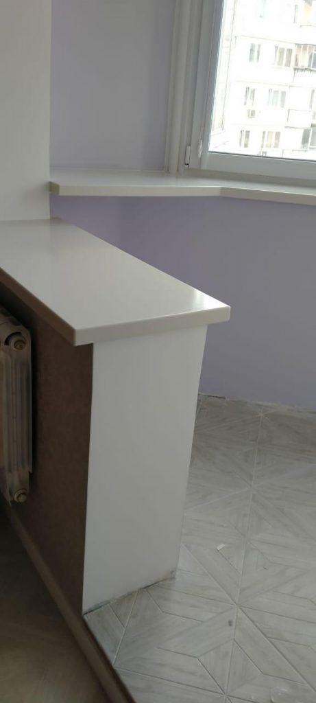 Белые фигурные подоконники из акрилового камня TriStone - фото 2
