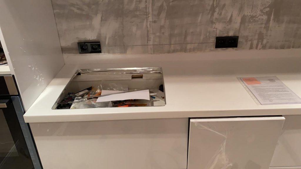 Белая столешница для кухни из акрилового камня Grandex D-313 Milly Way - фото 2