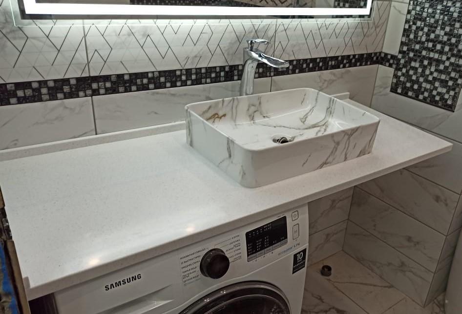 Столешница для ванной комнаты из искусственного камня Grandex А-422 Snow Pile - фото 1