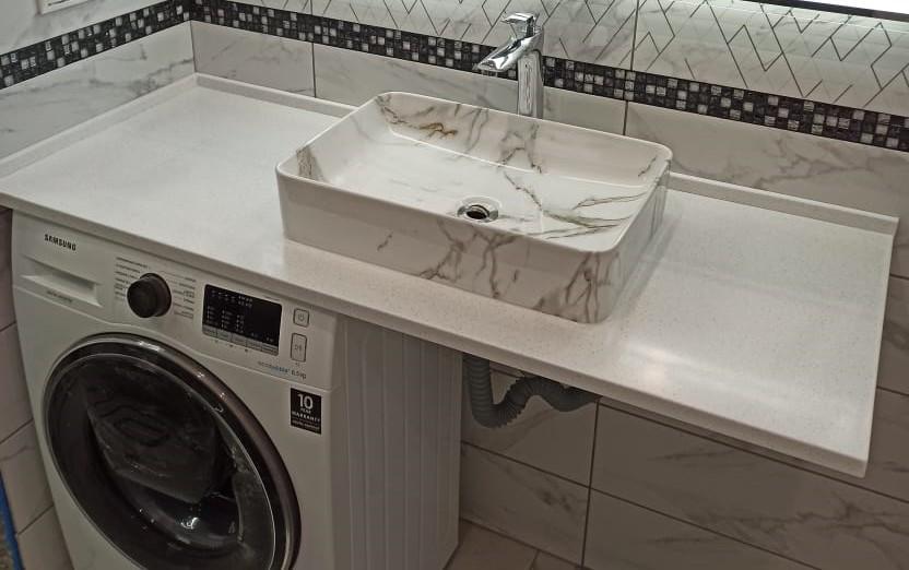 Столешница для ванной комнаты из искусственного камня Grandex А-422 Snow Pile - фото 2