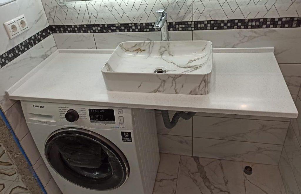 Столешница для ванной комнаты из искусственного камня Grandex А-422 Snow Pile - фото 4