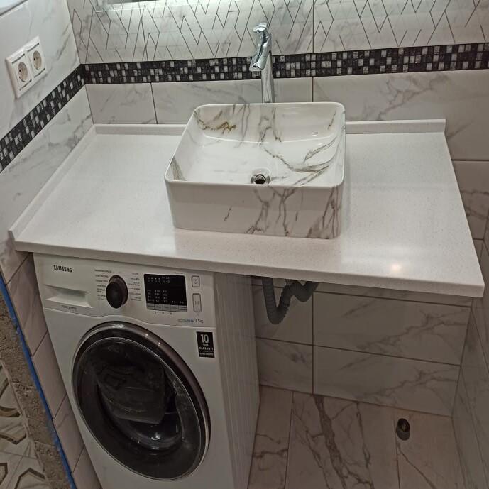 Столешница для ванной комнаты из искусственного камня Grandex А-422 Snow Pile - фото 19